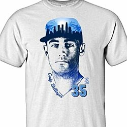 Los Angeles Dodgers CODY BELLINGER #35 MLBPA Skyline Men's Crew Neck Tee Shirt