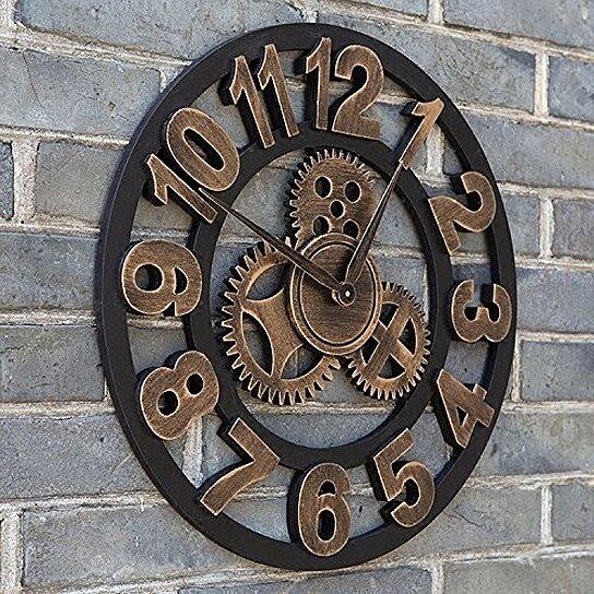 Buy 16 round wall clock antique handmade wooden vintage - Reloj pared vintage ...