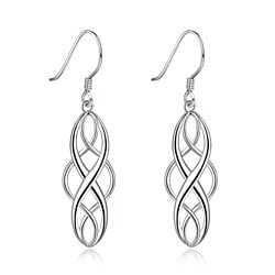Ladies' Drop Earrings Platinum Plated Silver
