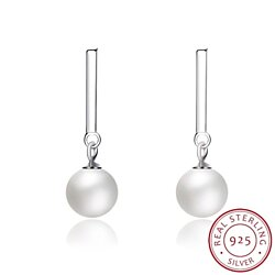 Ladies' Pearl Sterling Silver Earrings