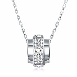 Lady Sterling Silver Necklace Clear CZ