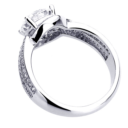 Buy Sterling Silver Round 2 carat CZ Solitaire Engagement Ring Size 5 to 9
