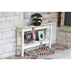 Farmhouse Sofa Table with Raised Bottom Shelf 46L x 8W x 28H