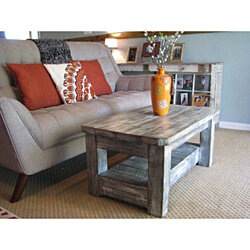 "Rustic Coffee Table with Shelf in ""Weathered Grey"" **choose from rounded or squared corners**"