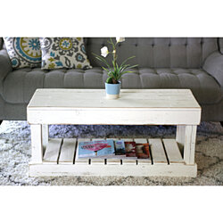 Slatted Bottom Coffee Table--White OR Natural