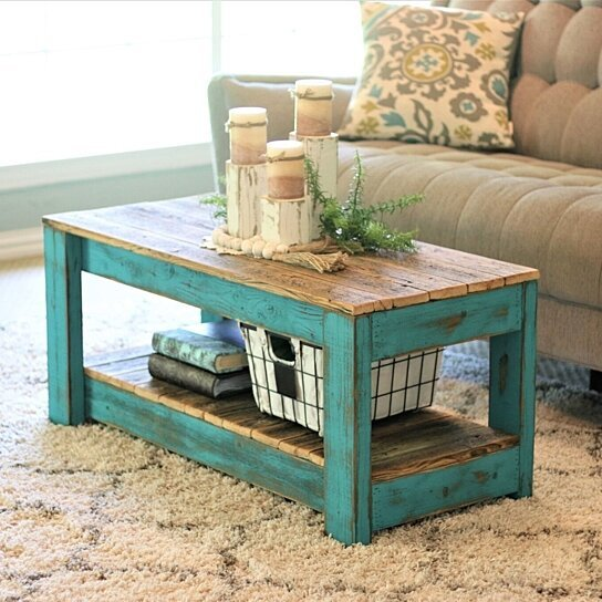 new arrival 7d23a b2a9e Turquoise Combo Coffee Table with Shelf