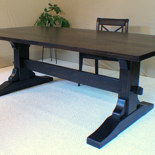 Buy wood dining table trestle table black walnut made in for Long dark wood dining table