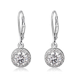 18K White Gold & Genuine Crystal Halo Drop Earrings
