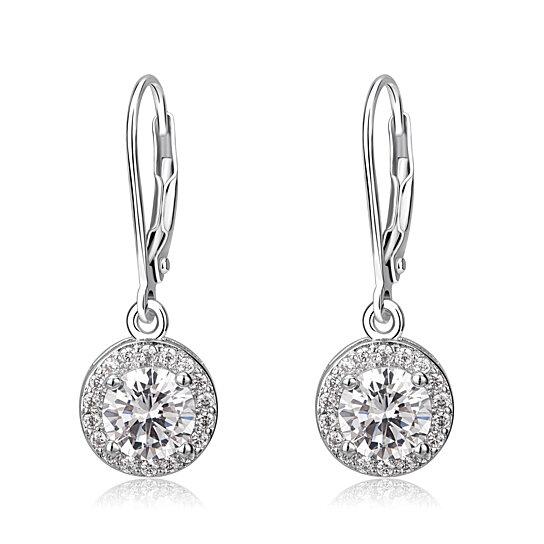 6f02d89d7 Buy 18K White Gold & Genuine Crystal Halo Drop Earrings by Dream Gem on  Gemafina