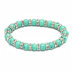 Genuine Turquoise ball bead bracelet with free matching earrings