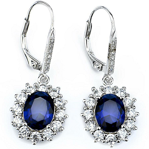18k White Gold Swarovski Accent Sapphire Halo Earrings