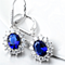 18k White Gold Plated Sapphire Earrings with Swarovski Crystals