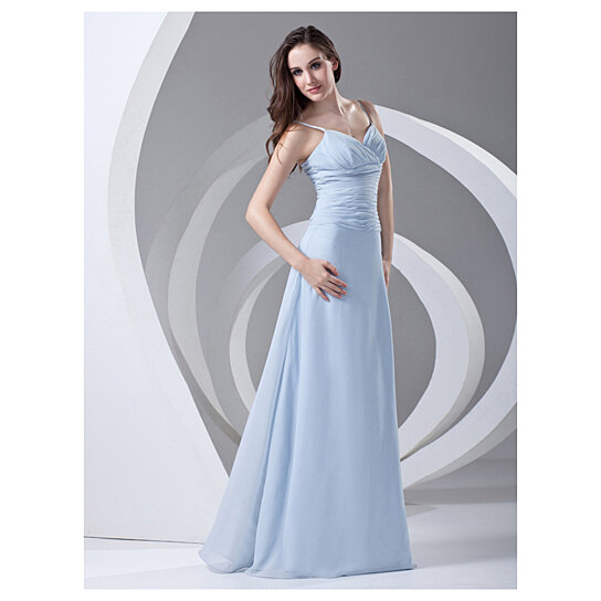 Buy aqua blue spaghetti strap chiffon bridesmaid dresses for Aqua blue dress for wedding