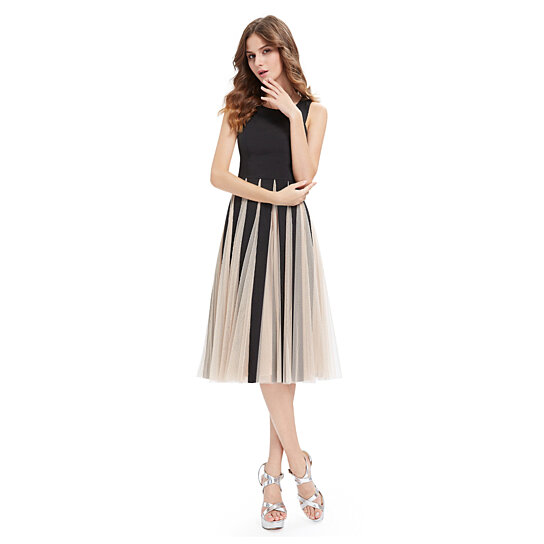 buy black and chagne midi length cocktail dress with