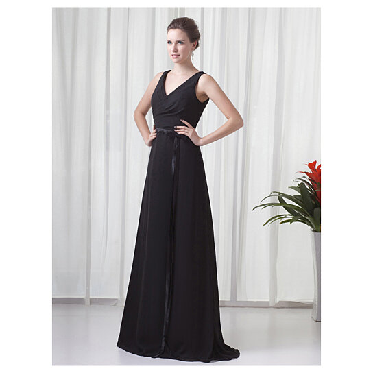 Buy black chiffon v neck sleeveless dresses for outdoor for Dress for outdoor wedding guest