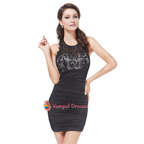 Neck special occasion dress sexy short lacy backless little black