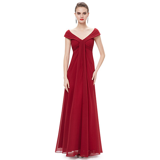 Buy Burgundy Flowy Chiffon Off The Shoulder Empire Waist