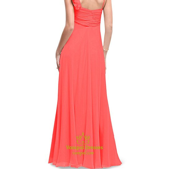 buy coral one shoulder bridesmaid dresses long coral