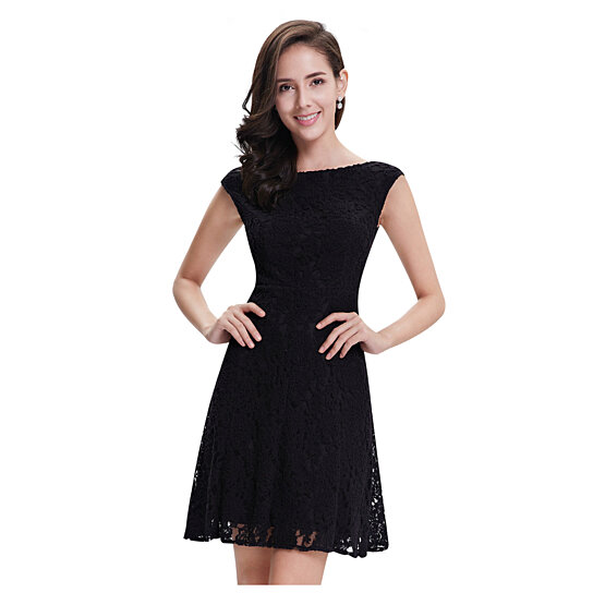 Buy elegant black lace short semi formal dresses with cap sleeves by