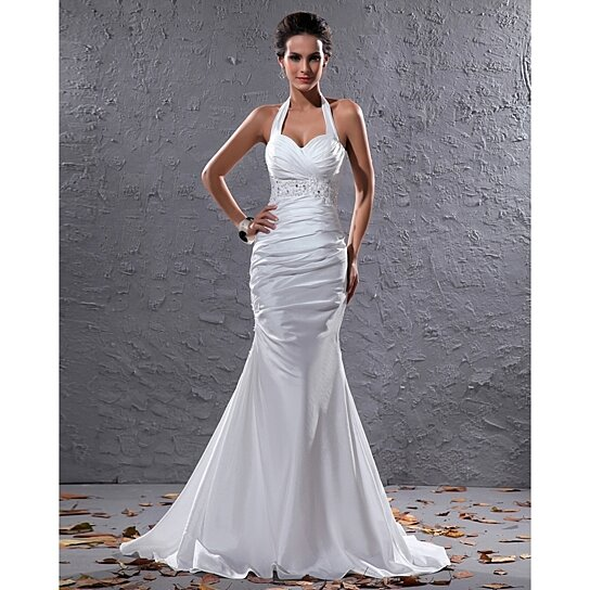 Buy Elegant White Halter Neck Floor Length Lace Embellished Wedding ...