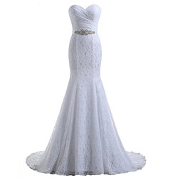 White Floor Length Mermaid Strapless Sweetheart Lace Wedding Dress