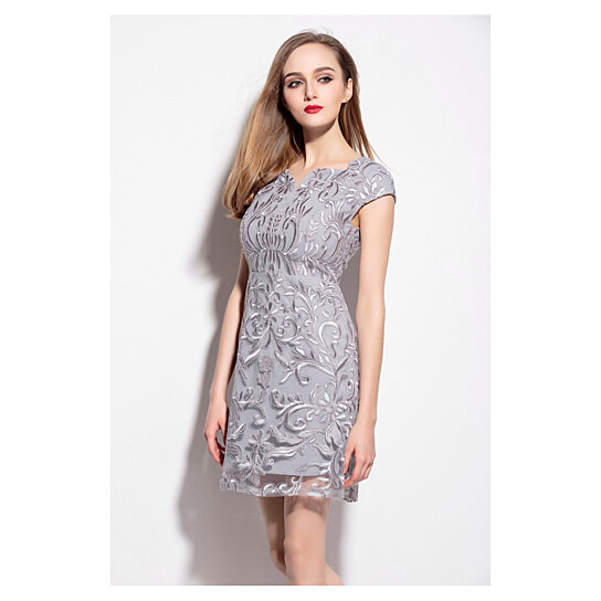 Buy Grey V Neck Embroidered Lace Overlay Cocktail Dress