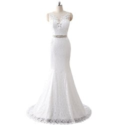 Illusion Sleeveless Floor Length Lace Overlay Mermaid Wedding Dress