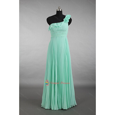 Buy jade green one shoulder ruffle crinkle chiffon long for Jade green wedding dresses