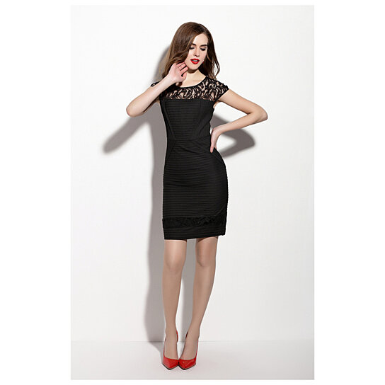 681a9daf23f Lace Illusion Neckline Sheath Little Black Dress With Cap Sleeve