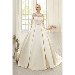 566bfd6ebcd Long Sleeve Illusion Bodice A-Line Satin Wedding Dress With Open Back