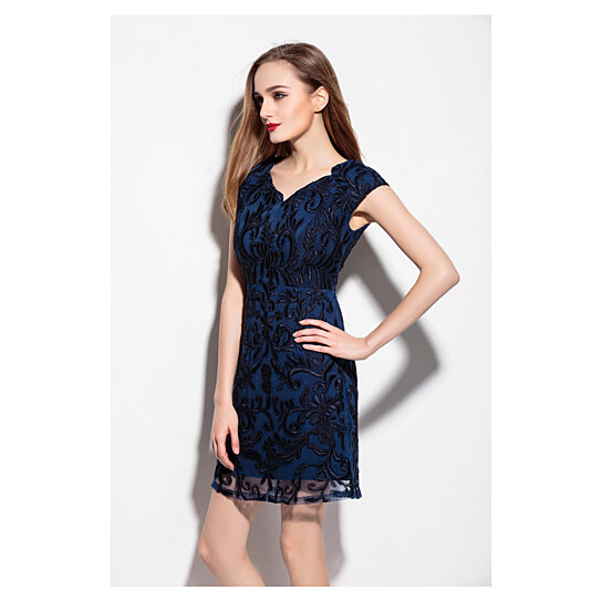 Buy Navy Blue V Neck Embroidered Lace Overlay Cocktail