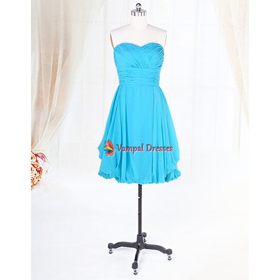 Buy Short Aqua Blue Bridesmaid Dresses For Beach Wedding ...