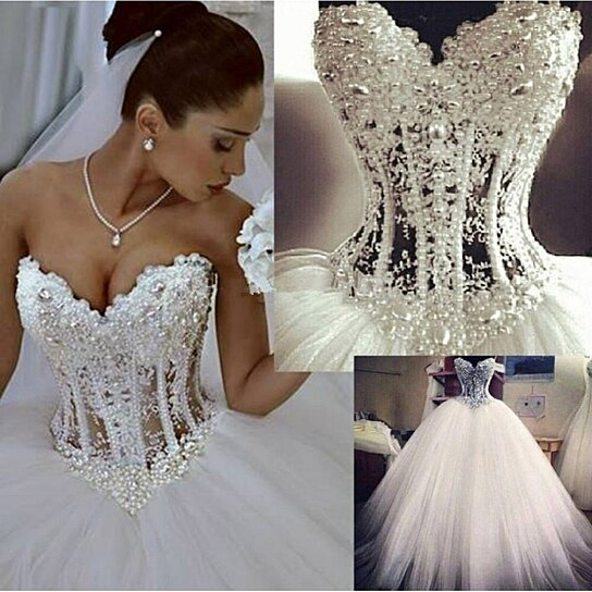 Buy Strapless Illusion Beaded Corset Bodice A-Line Tulle Wedding ...