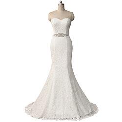 3f249f43047 Strapless Sweetheart Lace Floor Length Mermaid Wedding Dress