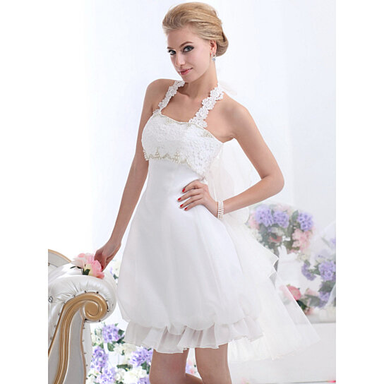 Hairstyle For Halter Neck Wedding Dress: Buy White Short Halter Neck Wedding Dresses With Pearls