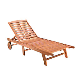 Malibu Outdoor Wood Folding Sunbathing Chaise Lounge