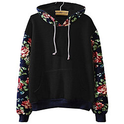 Casual Hoodies Sweater Pullover Warm Fleece Lined Flowers Sleeve For Women