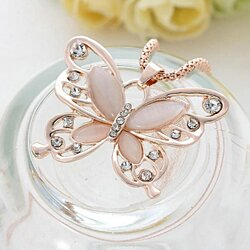 Necklace women opal rhinestone inlaid butterfly pendant sweater chain necklace jewelry
