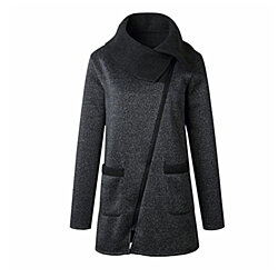 Plus Size Fall WinterCasual Solid Color Jacket Coat Long Zipper Sweatshirt Outwear Tops For Women