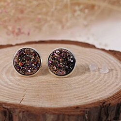 Post stud earrings copper drusy round multicolor AB color 14mm 1 pair