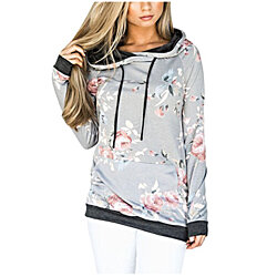 Women Floral Printed Long Sleeve Hoodie Tops Pullover Sweatshirts (S-XXL)
