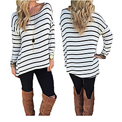 Women's Black and White Stripes Long Sleeve T-shirt Tops Cotton Tees