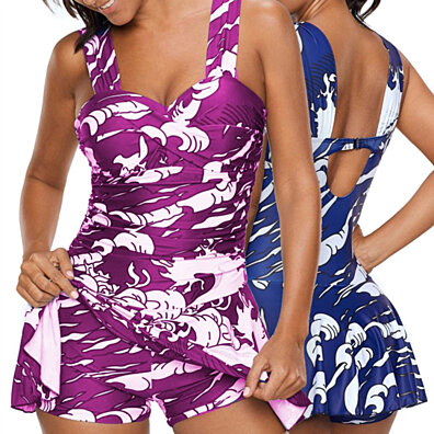 a4c2878dc885b Women's Fashion Plus Size Sexy Wide Strap Ruched Ptint Swimdress and Shorts Swimsuit  Tankinis Skirts