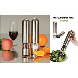 Salt And Pepper Mills With Electric Dispenser In Stainless Steel