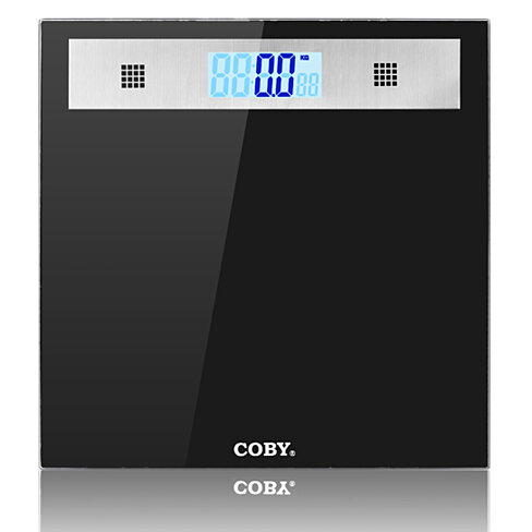Buy Coby Tempered Glass Digital Bathroom Scale With Talking Function Blue Backlit Lcd Display