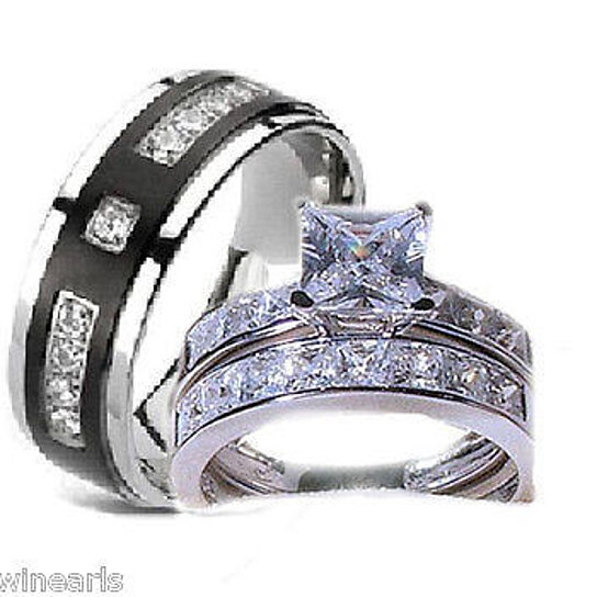 Buy 3 piece His Hers Wedding Rings Stainless Steel Titanium Cz