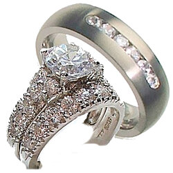 Buy His Her 4 Piece Wedding Ring Set 925 Sterling Silver
