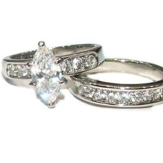buy his hers 3 marquise cut cz wedding engagement