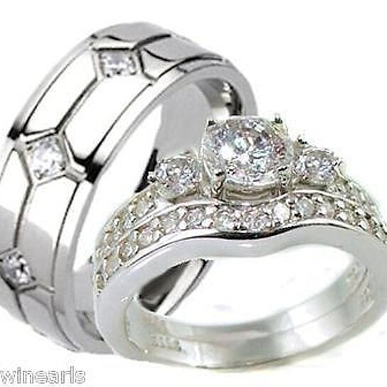Buy His Amp Hers 3 Piece Vintage Style Wedding Ring Set Sterling Silver Amp Titanium By Edwin Earls