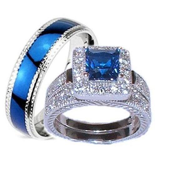 Buy His Hers 3 Piece Wedding Ring Set Sapphire Blue Cz